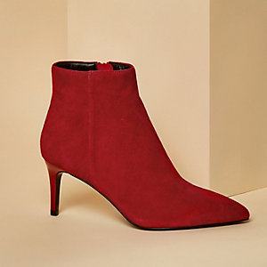 Red suede pointed kitten heel boots