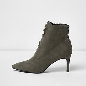 Grey pointed lace-up kitten heel ankle boots