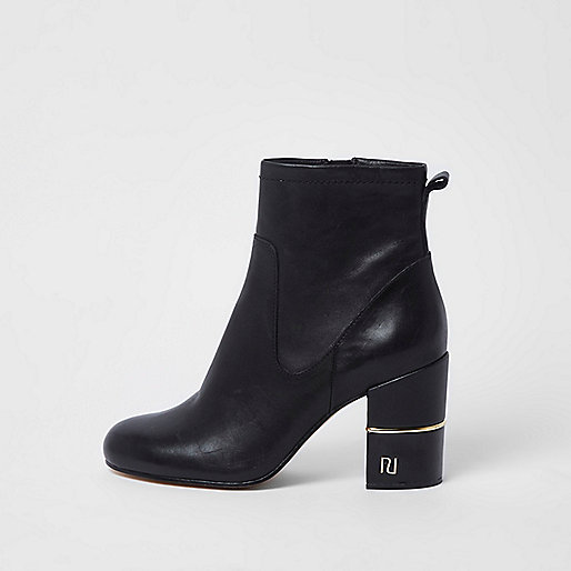 Black gold tone trim block heel ankle boots