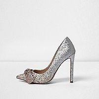 Gold ombre glitter knot front court shoes