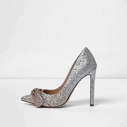 Gold ombre glitter knot front pumps