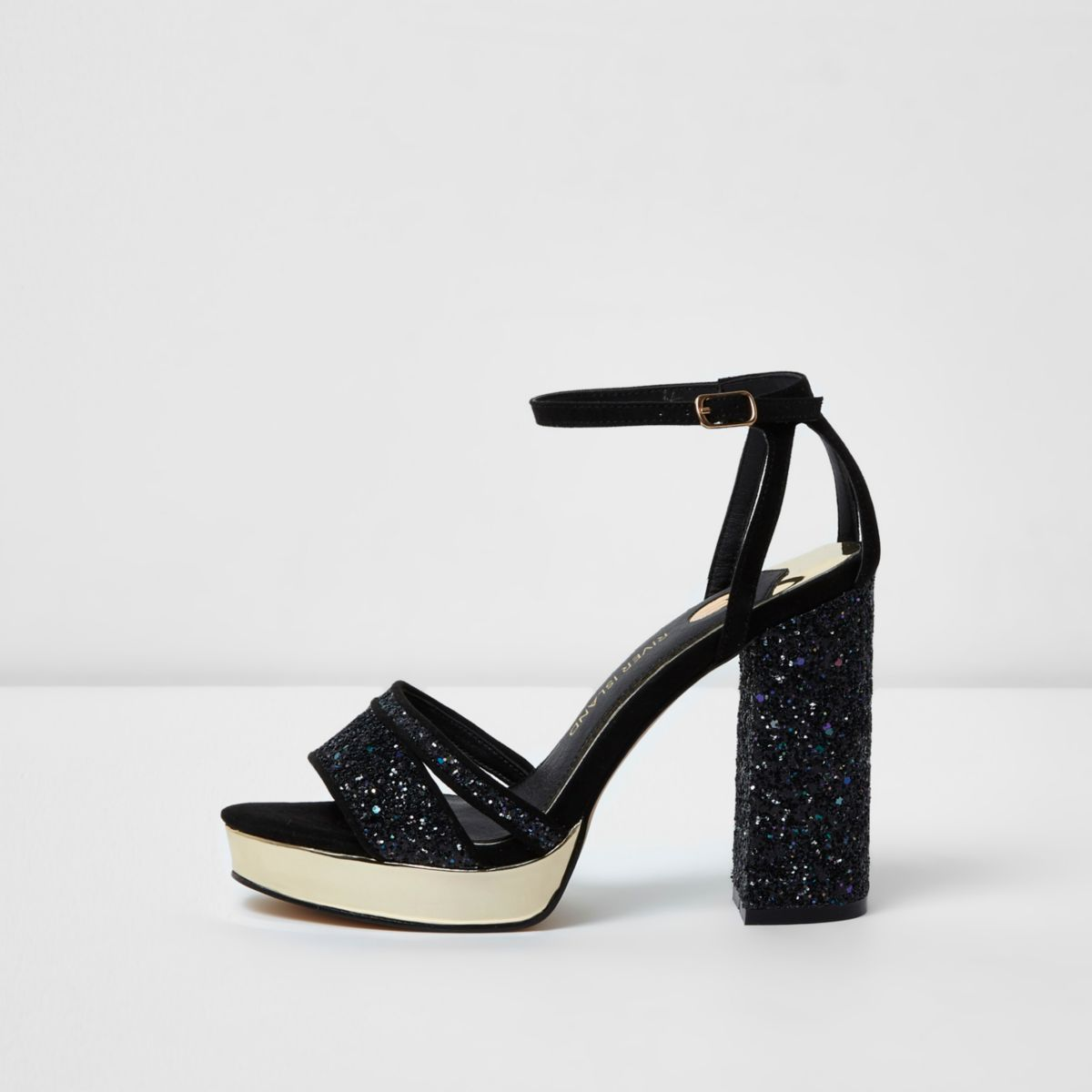 Navy glitter platform sandals