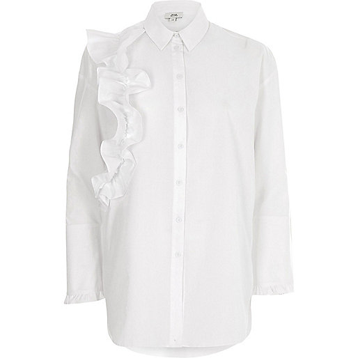 White frill front long sleeve shirt