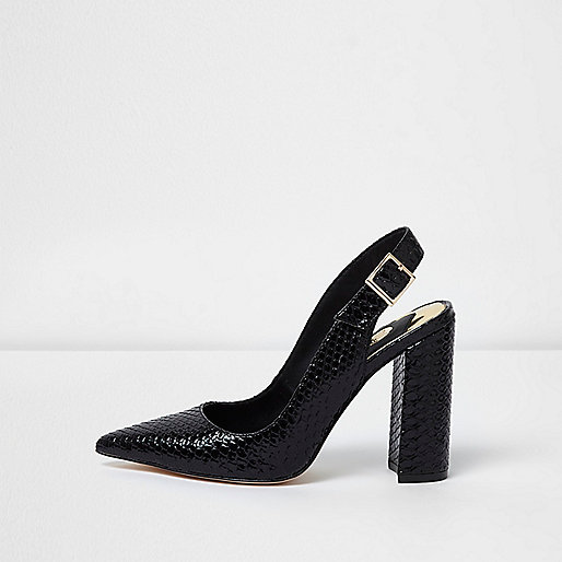 Black snake slingback block heel pumps