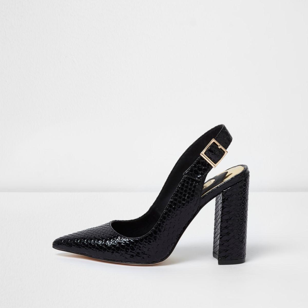 Black snake slingback block heel court shoes