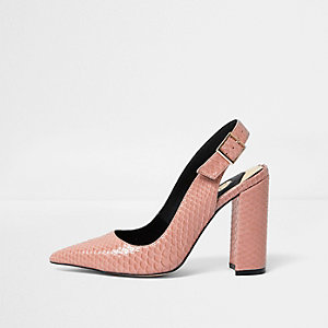 Pink snake slingback block heel pumps