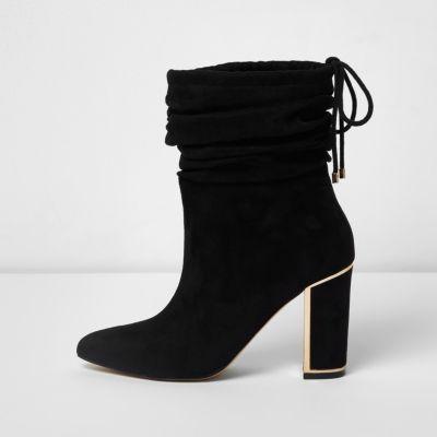 Black Boots Gold Heel ARizJsTq