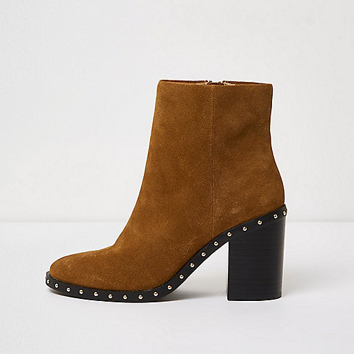 Tan suede studded ankle western boots