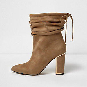 Camel slouch pointed toe heeled boots