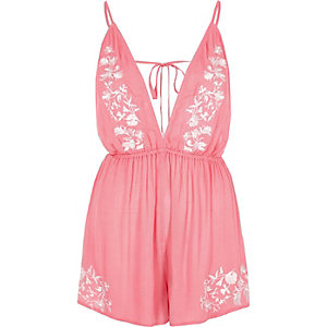 Pink embroidered plunge romper