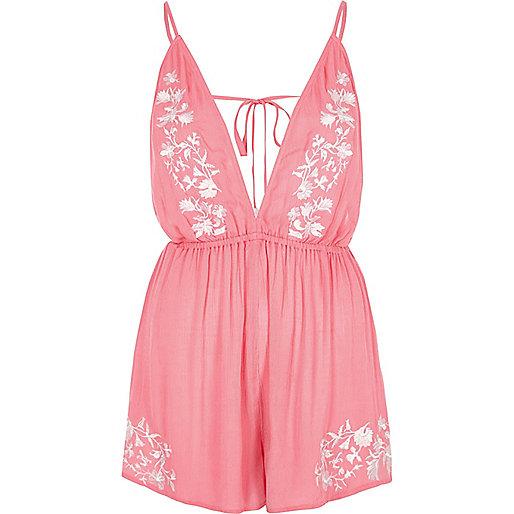 Pink embroidered plunge romper