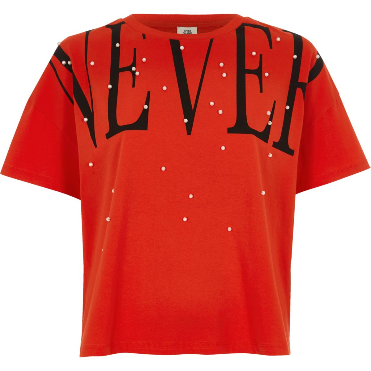 Red 'never' faux pearl embellished T-shirt