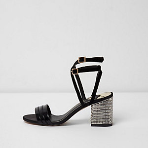 Black strappy rhinestone block heel sandals