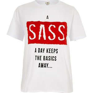 White 'a sass a day' fluffy boyfriend T-shirt