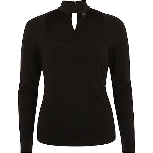 Black choker detail long sleeve fitted top