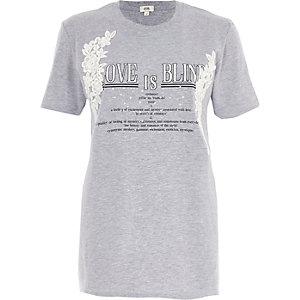 Grey marl 'love is blind' print T-shirt