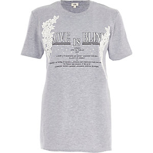 Grey marl 'love is blind' print T-shirt