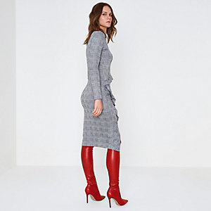 Grey check ruched frill bodcon midi dress