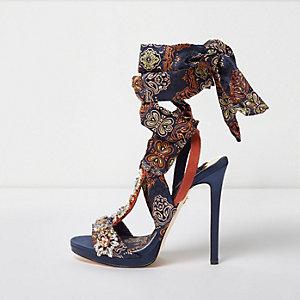 Navy butterfly print satin heeled sandals