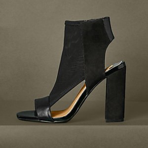 Black mesh block heel shoe boots