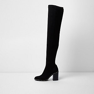 Black studded over the knee block heel boots