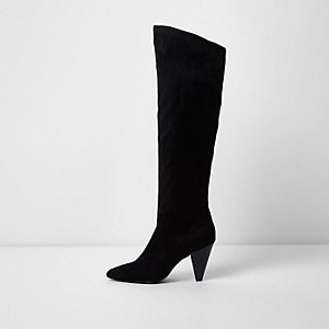 Bottes noires à talons coniques longueur genou