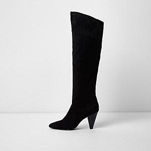Zwarte kniehoge laarzen met kegelhak