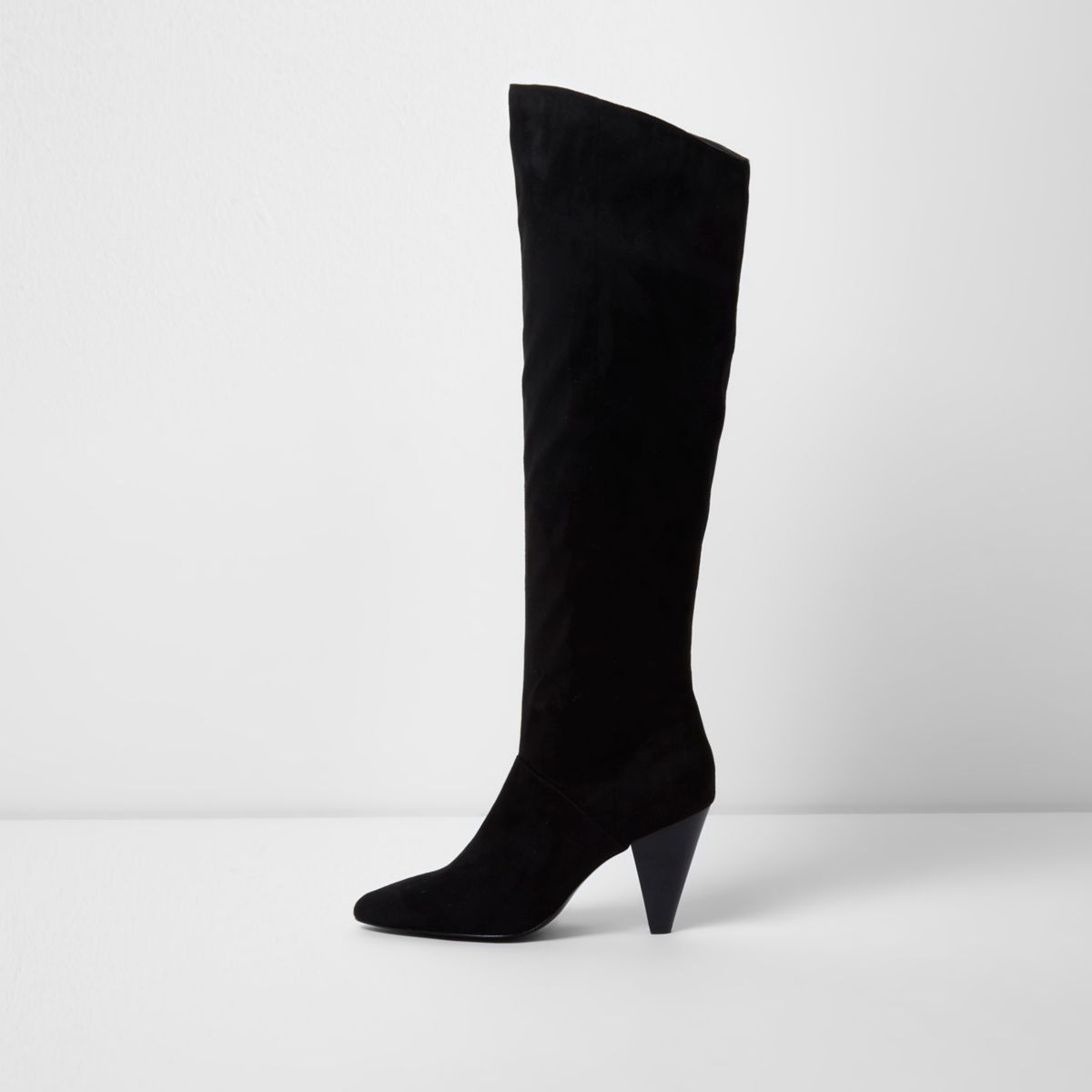 Black knee high cone heel boots
