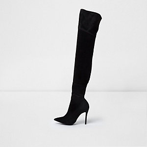 Black pointed toe over the knee sock boots