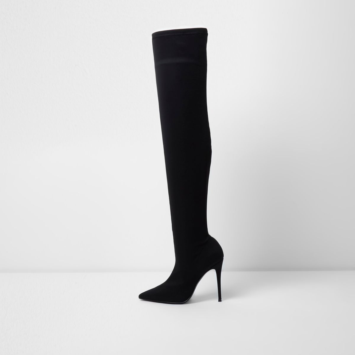 Zwarte over-de-knie-laarzen met puntige neus