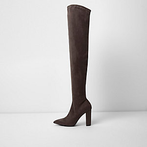 Dark grey faux suede over the knee boots