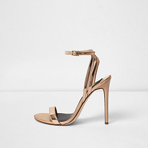 Sandales minimalistes dorées métallisées