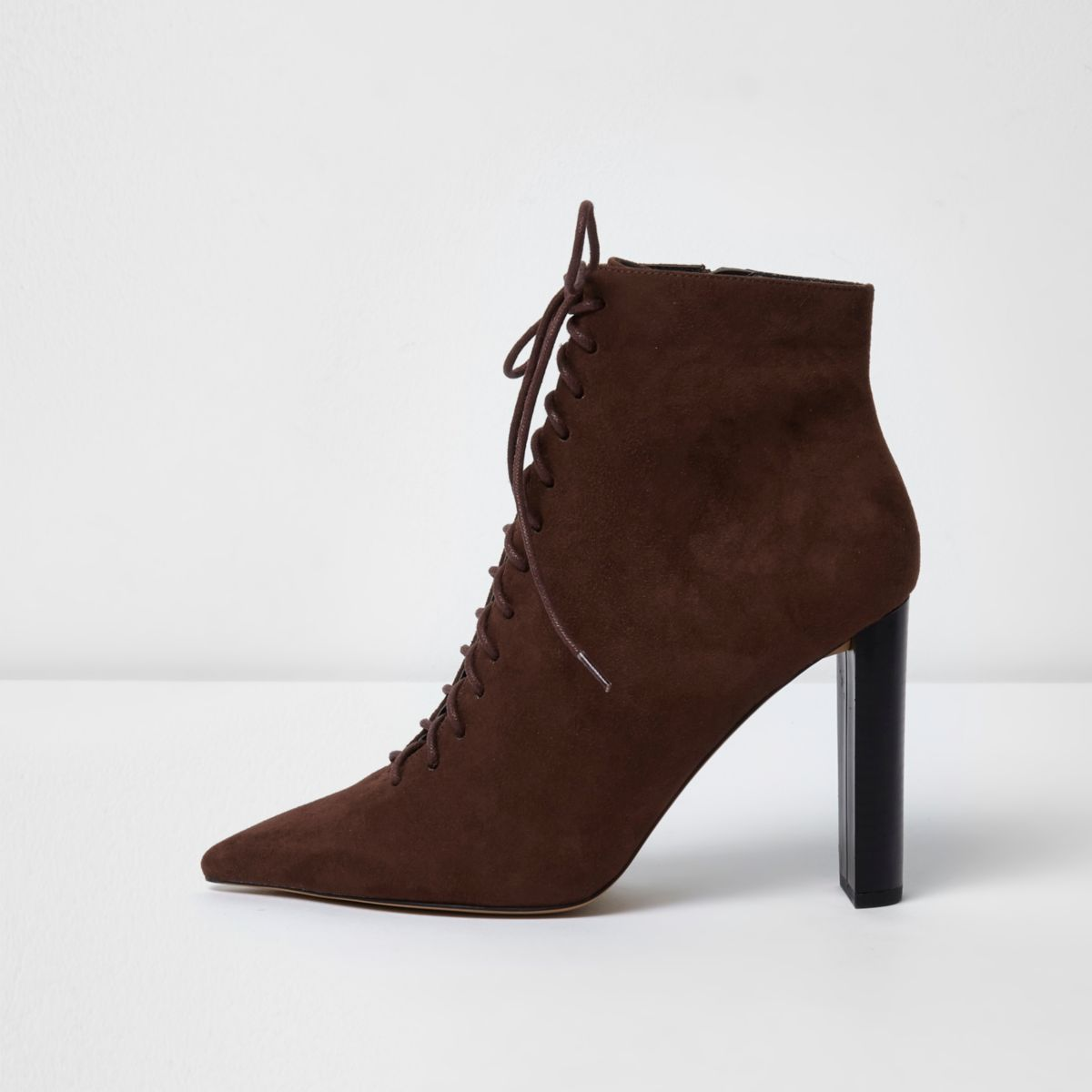 Brown pointed toe lace-up ankle boots