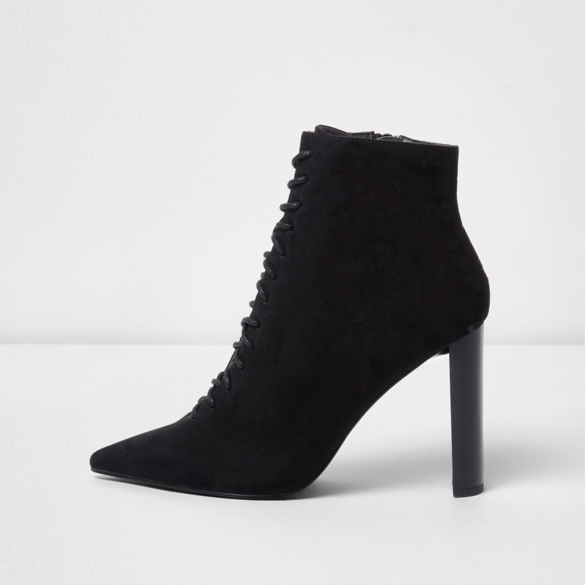 Black pointed lace up boots