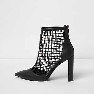 Black faux leather mesh heeled boots