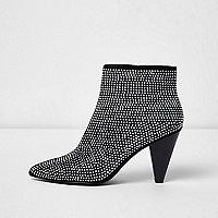 Silver pointed heatseal cone heel boots