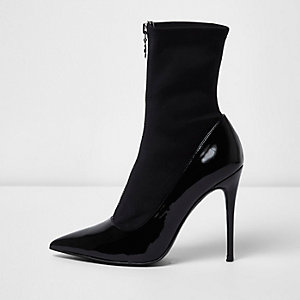 Black patent zip front sock boots