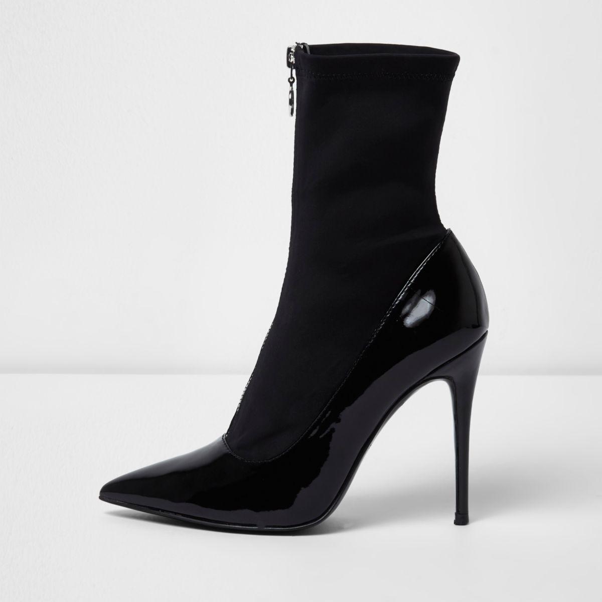 Black patent zip front sock boots