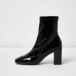 Black patent square toe block heel sock boots