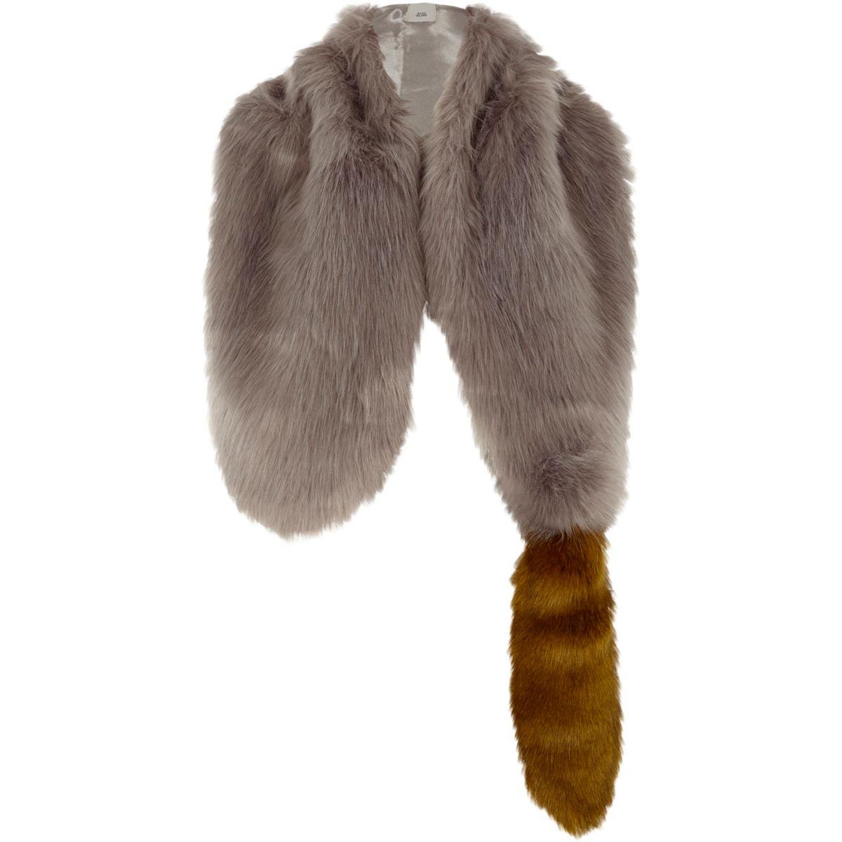 Grey faux fur fox tail shawl scarf