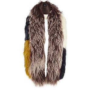 Brown mongolian fur color mix scarf