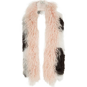 Light pink mongolian fur mono mixed scarf