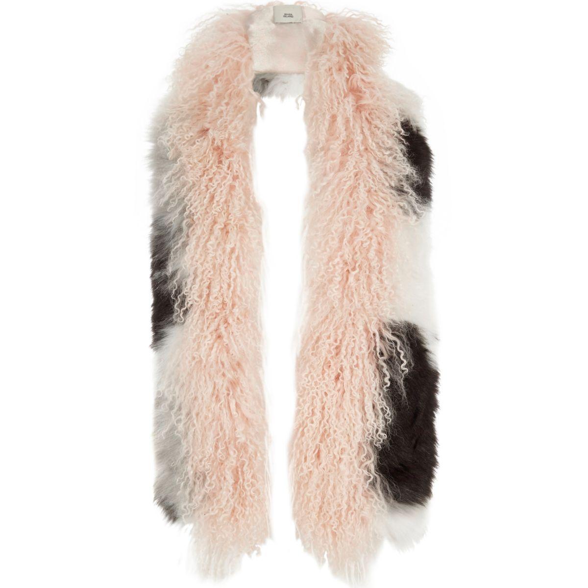 Light pink mongolian wool mono mixed scarf