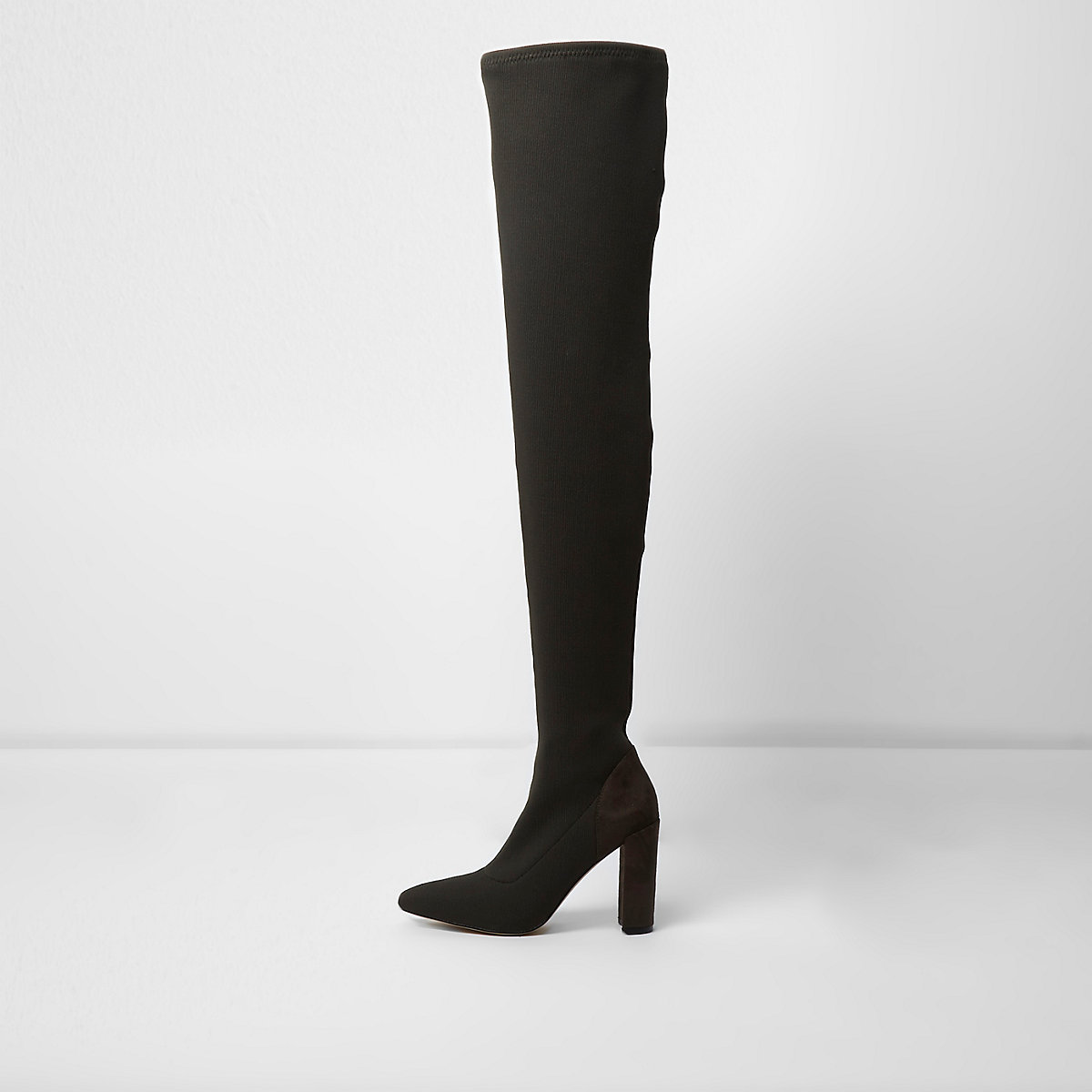 5c93f1a1a2a Khaki green rib knit over the knee boots - Shoes   Boots - Sale - women