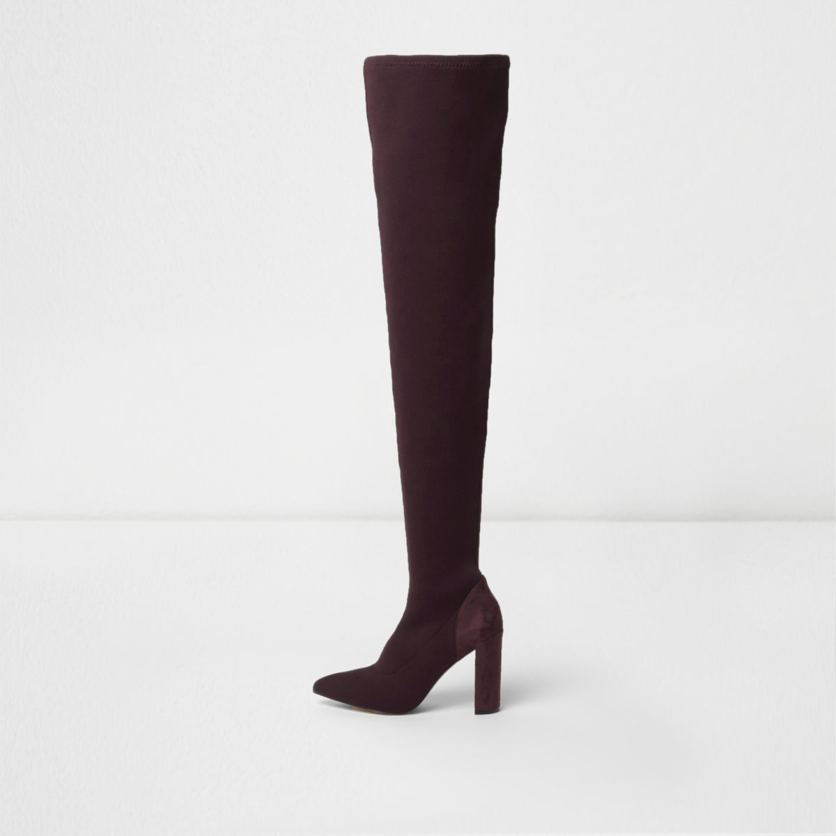 Dark red over the knee knitted boots