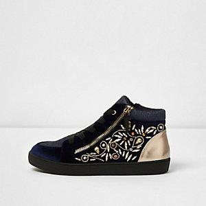 Navy gem embellished lace-up hi top sneakers