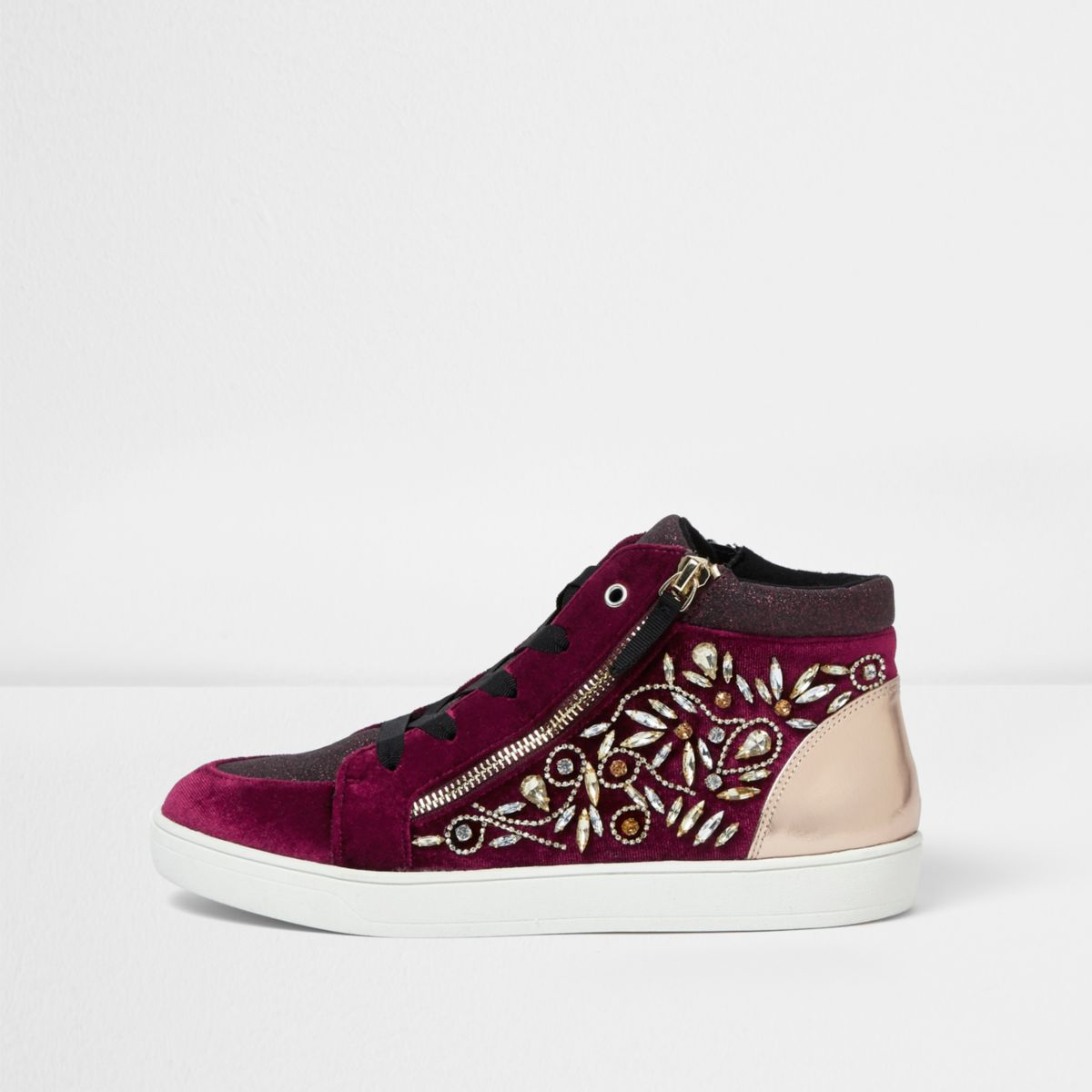 Dark red gem embellished hi top sneakers