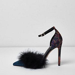 Navy faux fur two part court shoes