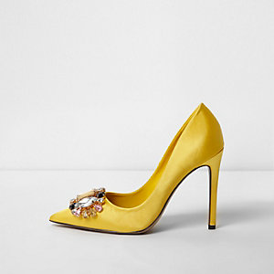 Yellow satin gem embellished court shoes