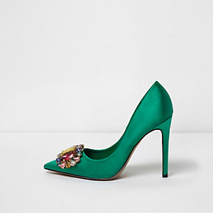 Green satin jewel embellished court shoes